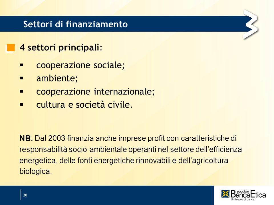 30 Settori di finanziamento 4 settori principali: cooperazione sociale; ambiente; cooperazione internazionale; cultura e società civile.