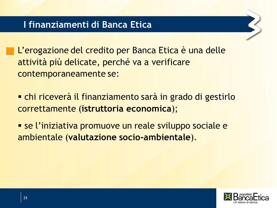 31 Lerogazione del credito per Banca Etica è una delle attività più delicate, perché va a verificare contemporaneamente se: chi riceverà il finanziamento sarà in grado di gestirlo correttamente (istruttoria economica); se liniziativa promuove un reale sviluppo sociale e ambientale (valutazione socio-ambientale).