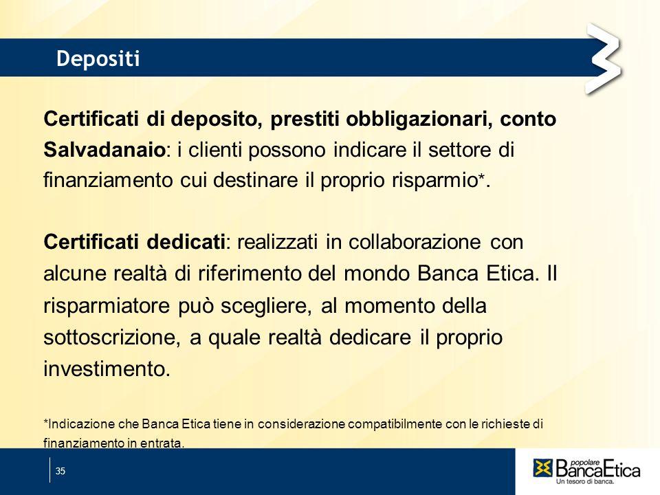 35 Depositi Certificati di deposito, prestiti obbligazionari, conto Salvadanaio: i clienti possono indicare il settore di finanziamento cui destinare il proprio risparmio *.