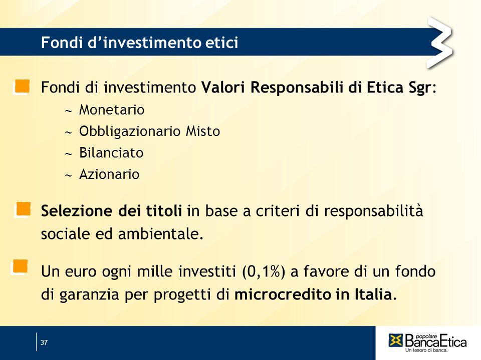 37 Fondi dinvestimento etici Fondi di investimento Valori Responsabili di Etica Sgr: Monetario Obbligazionario Misto Bilanciato Azionario Selezione dei titoli in base a criteri di responsabilità sociale ed ambientale.