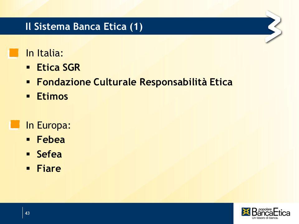 43 Il Sistema Banca Etica (1) In Italia: Etica SGR Fondazione Culturale Responsabilità Etica Etimos In Europa: Febea Sefea Fiare