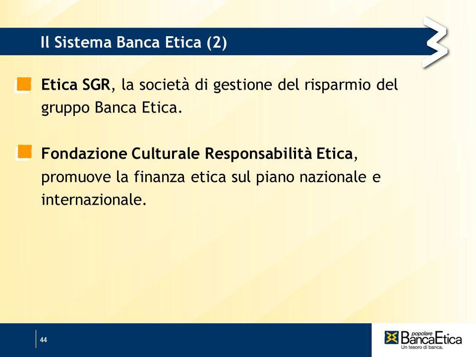 44 Il Sistema Banca Etica (2) Etica SGR, la società di gestione del risparmio del gruppo Banca Etica.