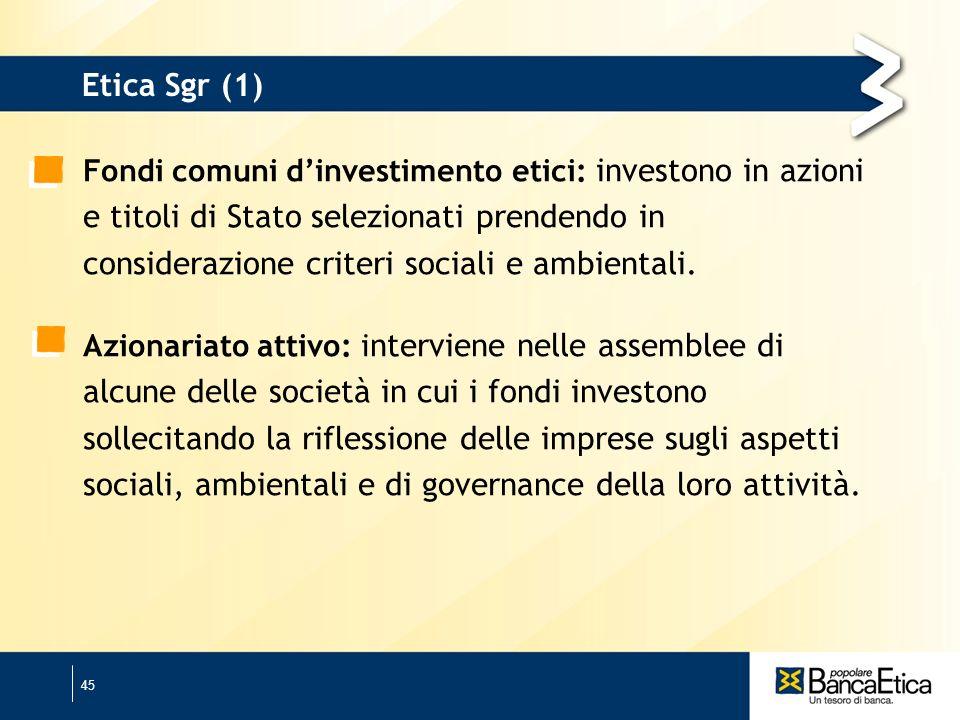 45 Etica Sgr (1) Fondi comuni dinvestimento etici: investono in azioni e titoli di Stato selezionati prendendo in considerazione criteri sociali e ambientali.