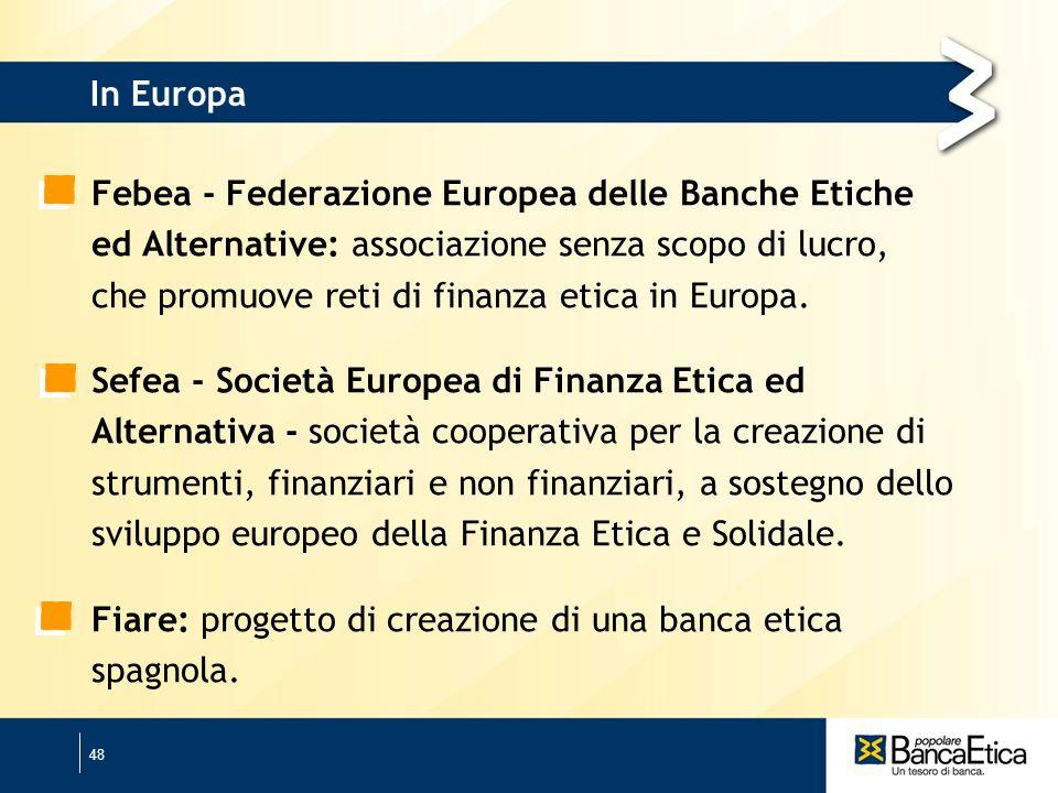 48 In Europa Febea - Federazione Europea delle Banche Etiche ed Alternative: associazione senza scopo di lucro, che promuove reti di finanza etica in Europa.