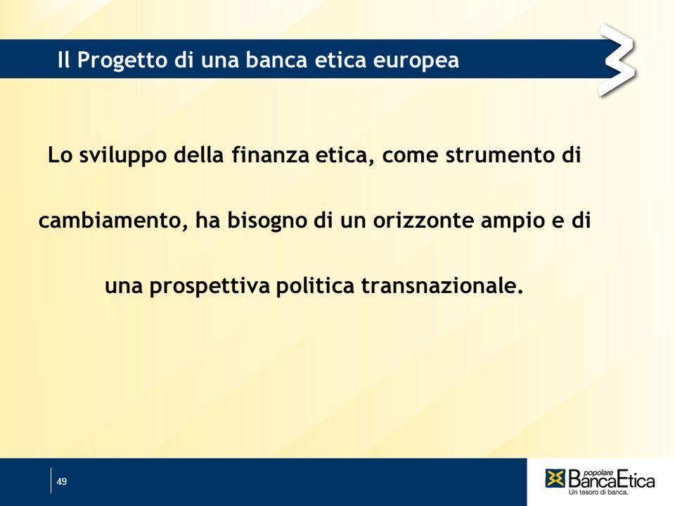 49 Il Progetto di una banca etica europea Lo sviluppo della finanza etica, come strumento di cambiamento, ha bisogno di un orizzonte ampio e di una prospettiva politica transnazionale.