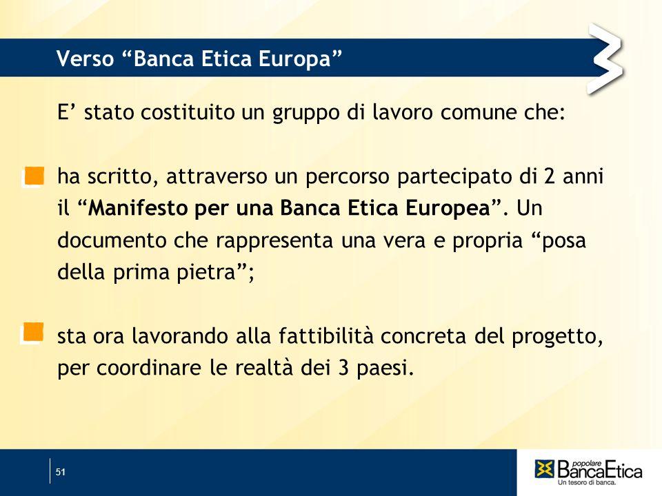 51 Verso Banca Etica Europa E stato costituito un gruppo di lavoro comune che: ha scritto, attraverso un percorso partecipato di 2 anni il Manifesto per una Banca Etica Europea.