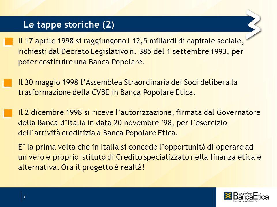 7 Il 17 aprile 1998 si raggiungono i 12,5 miliardi di capitale sociale, richiesti dal Decreto Legislativo n.
