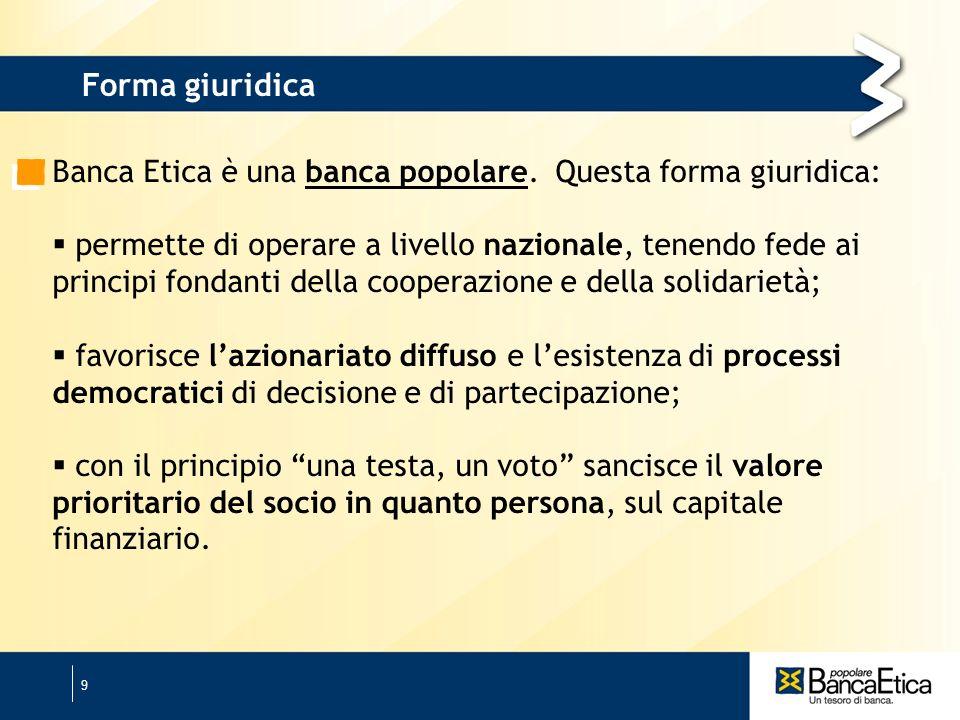 9 Banca Etica è una banca popolare.