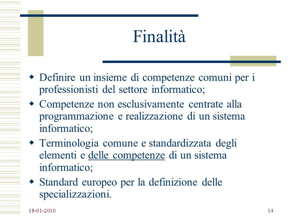 18-01-2010 14 Finalità Definire un insieme di competenze comuni per i professionisti del settore informatico; Competenze non esclusivamente centrate a