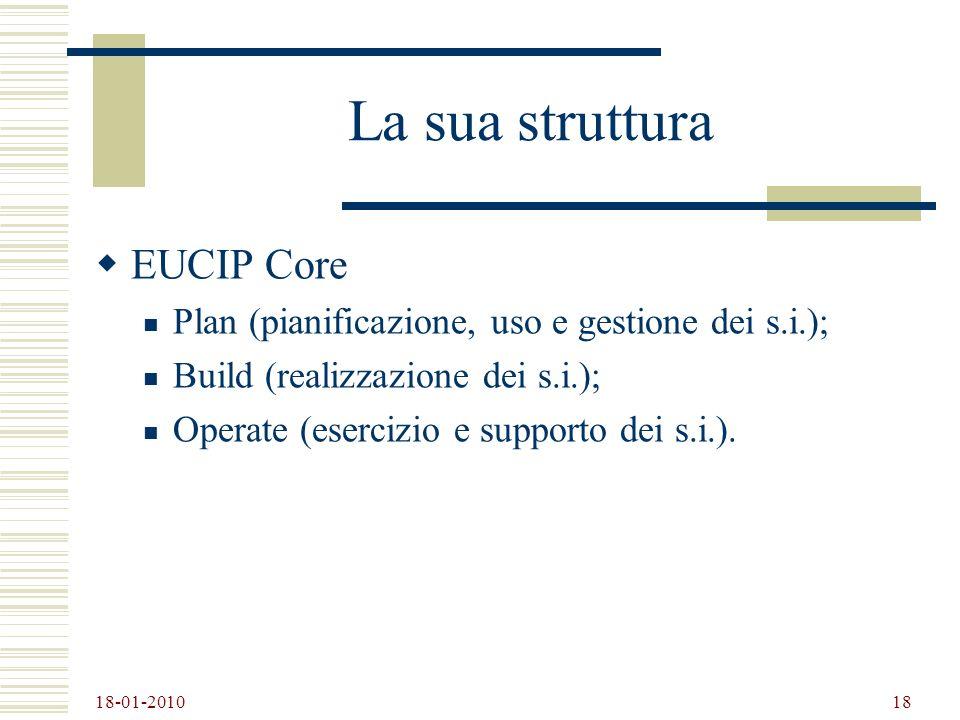 18-01-2010 18 La sua struttura EUCIP Core Plan (pianificazione, uso e gestione dei s.i.); Build (realizzazione dei s.i.); Operate (esercizio e support