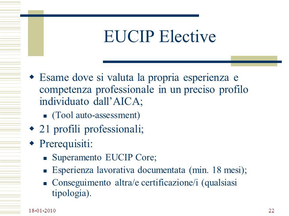 18-01-2010 22 EUCIP Elective Esame dove si valuta la propria esperienza e competenza professionale in un preciso profilo individuato dallAICA; (Tool a