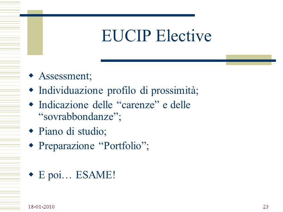 18-01-2010 23 EUCIP Elective Assessment; Individuazione profilo di prossimità; Indicazione delle carenze e delle sovrabbondanze; Piano di studio; Prep