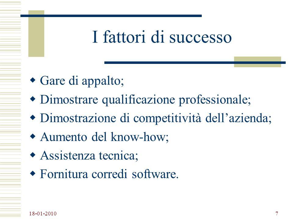 18-01-2010 7 I fattori di successo Gare di appalto; Dimostrare qualificazione professionale; Dimostrazione di competitività dellazienda; Aumento del k