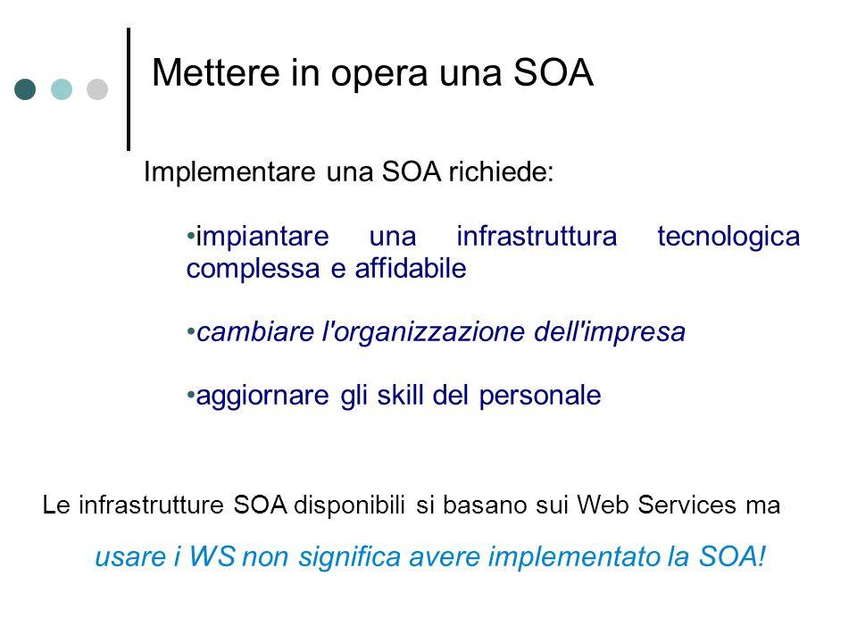 Mettere in opera una SOA Implementare una SOA richiede: impiantare una infrastruttura tecnologica complessa e affidabile cambiare l'organizzazione del