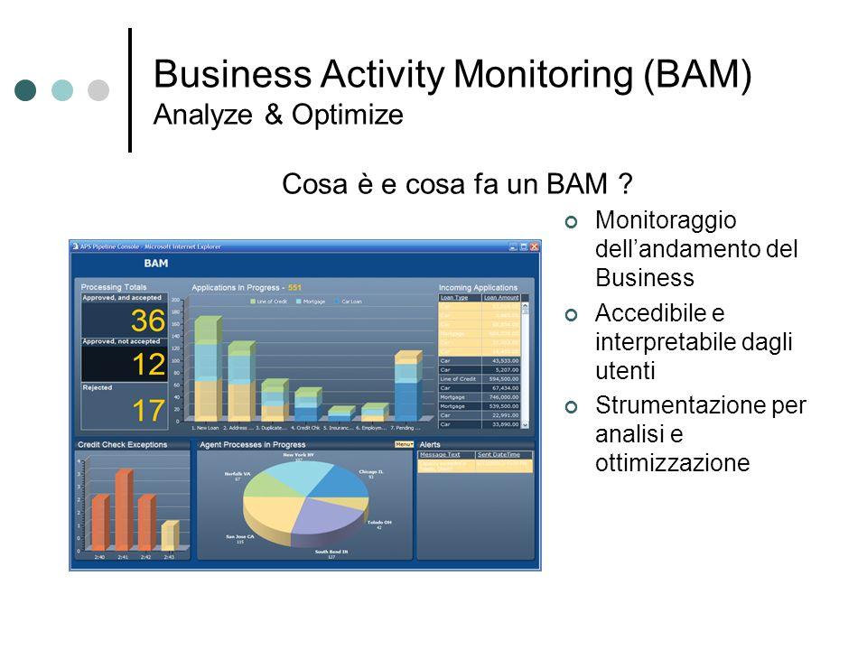Business Activity Monitoring (BAM) Analyze & Optimize Monitoraggio dellandamento del Business Accedibile e interpretabile dagli utenti Strumentazione