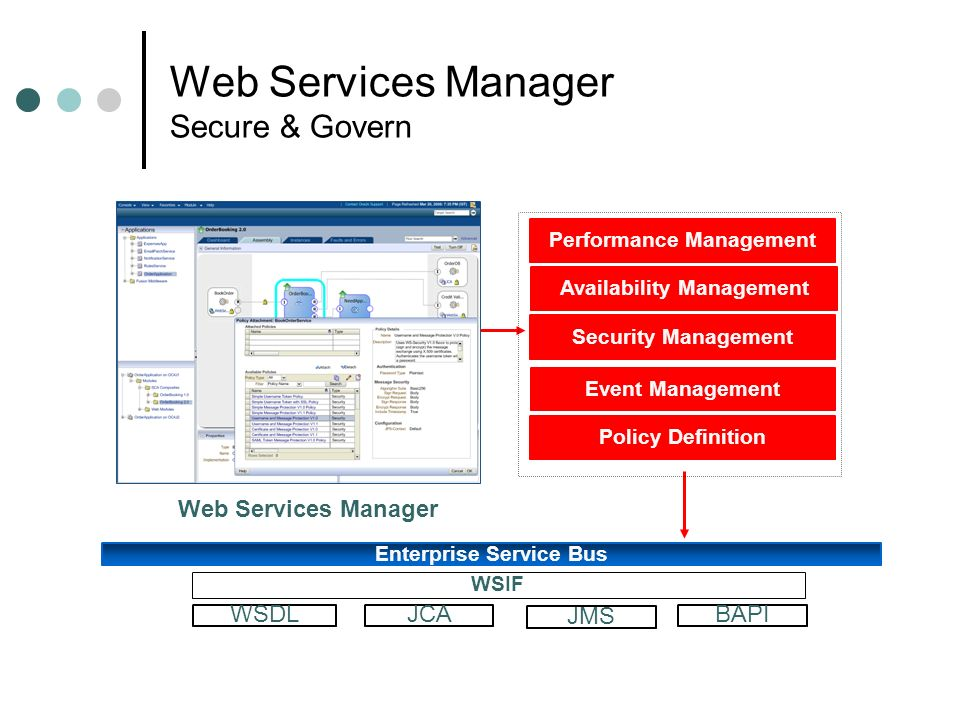 Web Services Manager Secure & Govern Web Services Manager Enterprise Service Bus WSDLJCABAPI WSIF JMS Security Management Availability Management Even