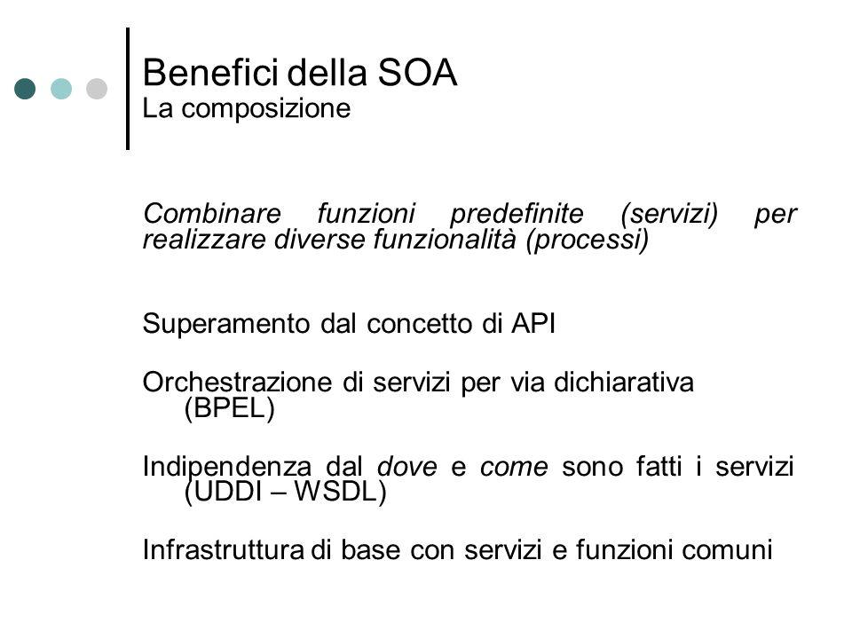 Benefici della SOA La composizione Combinare funzioni predefinite (servizi) per realizzare diverse funzionalità (processi) Superamento dal concetto di