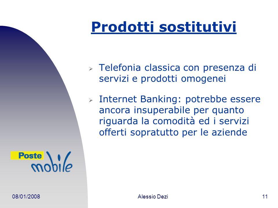 08/01/2008Alessio Dezi11 Prodotti sostitutivi Telefonia classica con presenza di servizi e prodotti omogenei Internet Banking: potrebbe essere ancora insuperabile per quanto riguarda la comodità ed i servizi offerti sopratutto per le aziende