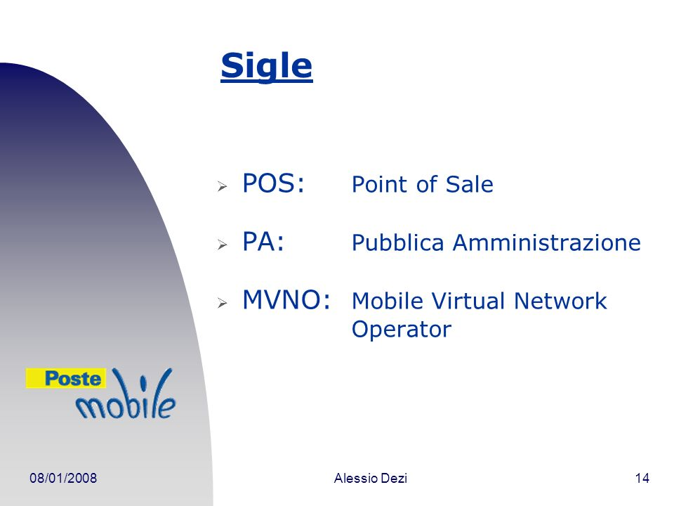 08/01/2008Alessio Dezi14 Sigle POS: Point of Sale PA: Pubblica Amministrazione MVNO: Mobile Virtual Network Operator