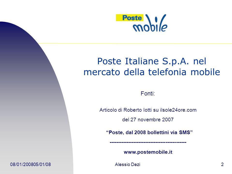 08/01/200805/01/08Alessio Dezi2 Poste Italiane S.p.A.