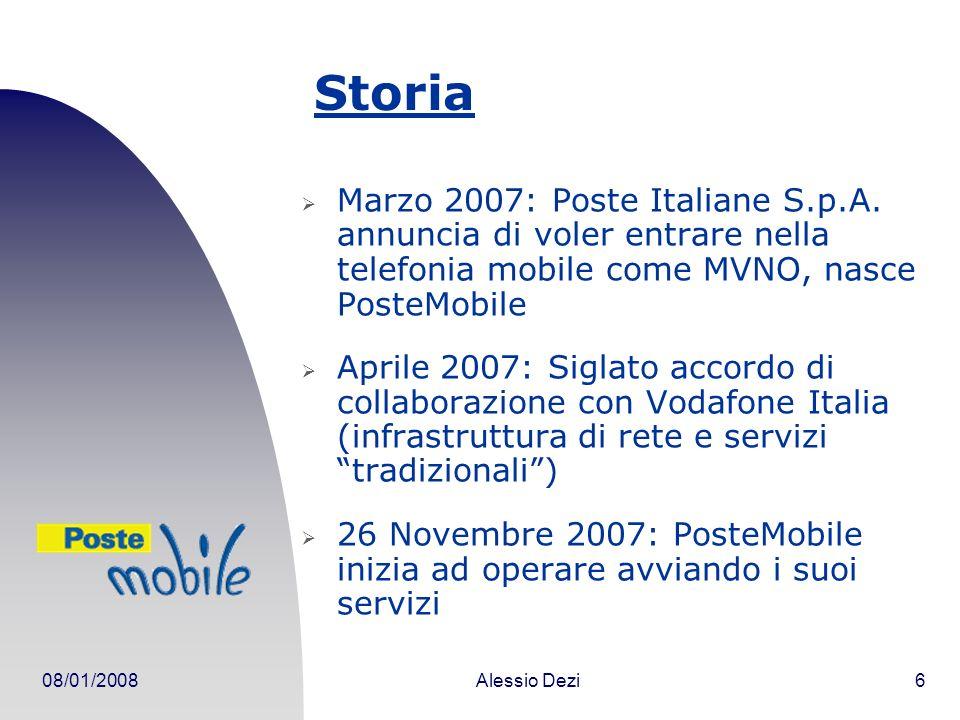 08/01/2008Alessio Dezi6 Storia Marzo 2007: Poste Italiane S.p.A.