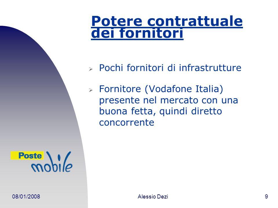 08/01/2008Alessio Dezi9 Potere contrattuale dei fornitori Pochi fornitori di infrastrutture Fornitore (Vodafone Italia) presente nel mercato con una buona fetta, quindi diretto concorrente