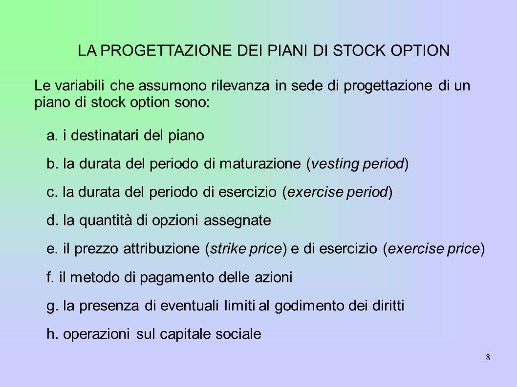 8 LA PROGETTAZIONE DEI PIANI DI STOCK OPTION Le variabili che assumono rilevanza in sede di progettazione di un piano di stock option sono: a.