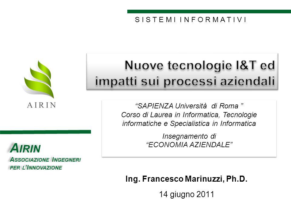 S I S T E M I I N F O R M A T I V I GOOD POINT A IRIN A SSOCIAZIONE I NGEGNERI PER L I NNOVAZIONE Ing. Francesco Marinuzzi, Ph.D. 14 giugno 2011 SAPIE