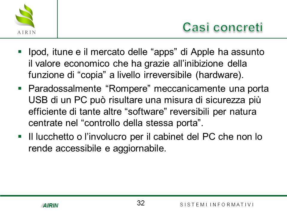 S I S T E M I I N F O R M A T I V I 32 AIRIN Ipod, itune e il mercato delle apps di Apple ha assunto il valore economico che ha grazie allinibizione della funzione di copia a livello irreversibile (hardware).
