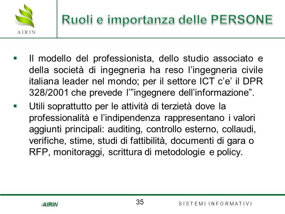 S I S T E M I I N F O R M A T I V I 35 AIRIN Il modello del professionista, dello studio associato e della società di ingegneria ha reso lingegneria civile italiana leader nel mondo; per il settore ICT ce il DPR 328/2001 che prevede lingegnere dellinformazione.