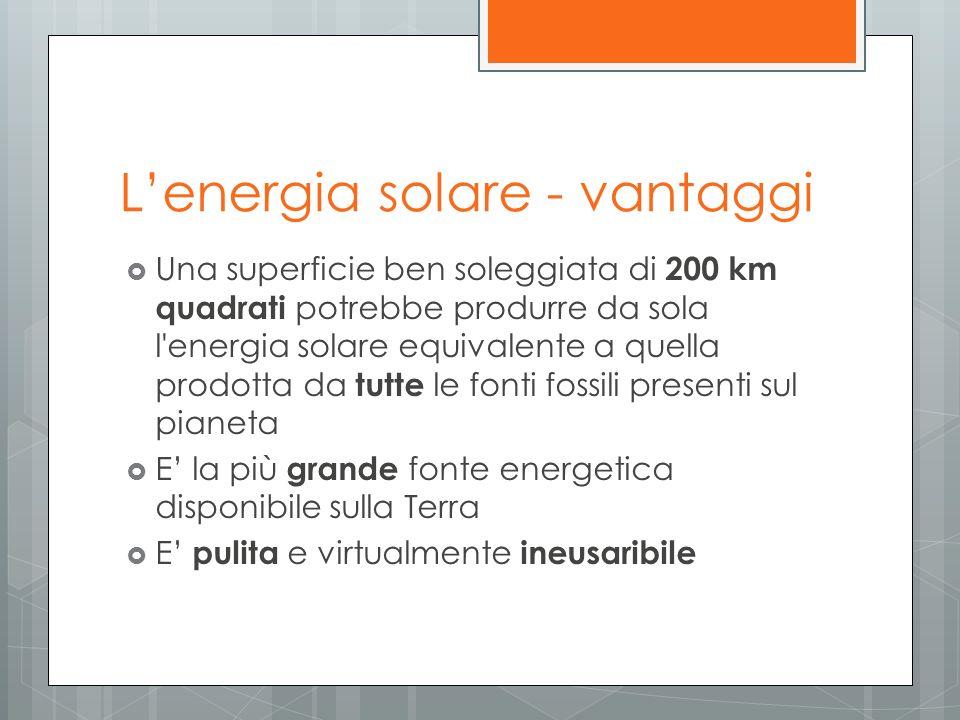 Lenergia solare - vantaggi Una superficie ben soleggiata di 200 km quadrati potrebbe produrre da sola l'energia solare equivalente a quella prodotta d