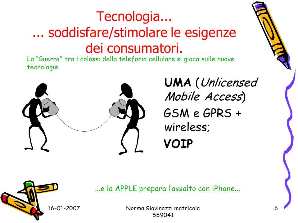 16-01-2007Norma Giovinazzi matricola 559041 6 Tecnologia......