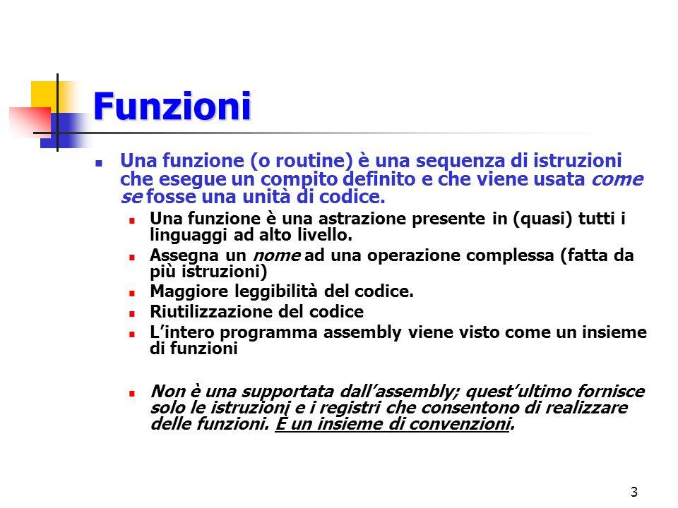 3 Funzioni Una funzione (o routine) è una sequenza di istruzioni che esegue un compito definito e che viene usata come se fosse una unità di codice.