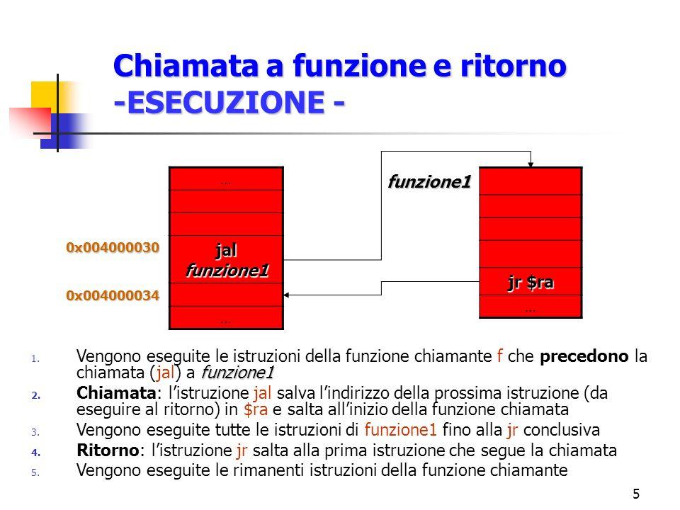 6 Esempio Funzione main:la $a0,str Argomenti in $a0-$a3 Funzione jal length Chiamata a funzione Chiamante sw $v0,result Risultati in $v0-$v1 length:move $t0,$a0 Parametro: $a0 li $t1,0 Funzione nextChar:lbu $t2,($t0) Chiamata beqz $t2,end addu $t0,$t0,1 addu $t1,$t1,1 b nextChar end:move $v0,$t1 Valore di ritorno: $v0 jr $ra