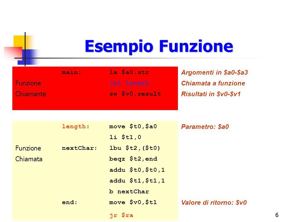 7 Funzione Una funzione può essere: Foglia: Se non chiama altre funzioni al suo interno Non-foglia: Se è sia chiamante che chiamata main:lw $a0,xadder: lw $a1,yadd $v0,$a0,$a1 jal adderjr $ra sw $v0,z FUNZIONE NON FOGLIA FUNZIONE FOGLIA
