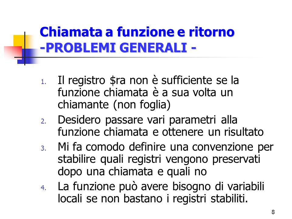 8 Chiamata a funzione e ritorno -PROBLEMI GENERALI - 1.