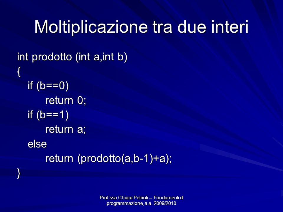 Prof.ssa Chiara Petrioli -- Fondamenti di programmazione, a.a. 2009/2010 Moltiplicazione tra due interi int prodotto (int a,int b) { if (b==0) return