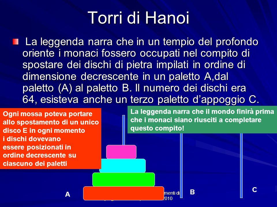 Prof.ssa Chiara Petrioli -- Fondamenti di programmazione, a.a. 2009/2010 Torri di Hanoi La leggenda narra che in un tempio del profondo oriente i mona