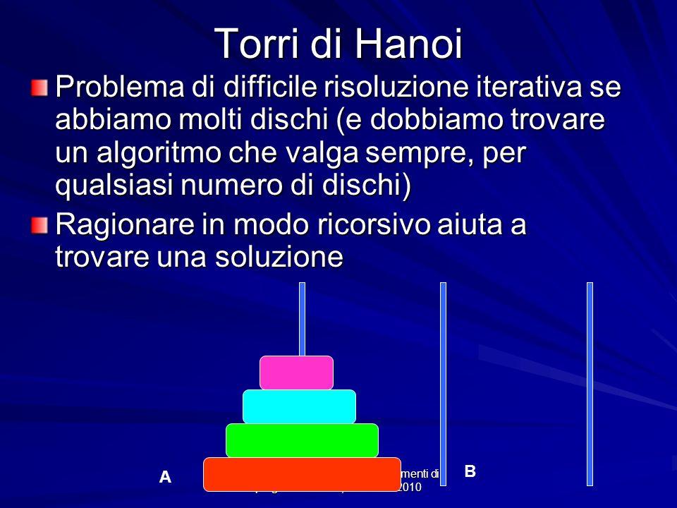 Prof.ssa Chiara Petrioli -- Fondamenti di programmazione, a.a. 2009/2010 Torri di Hanoi Problema di difficile risoluzione iterativa se abbiamo molti d