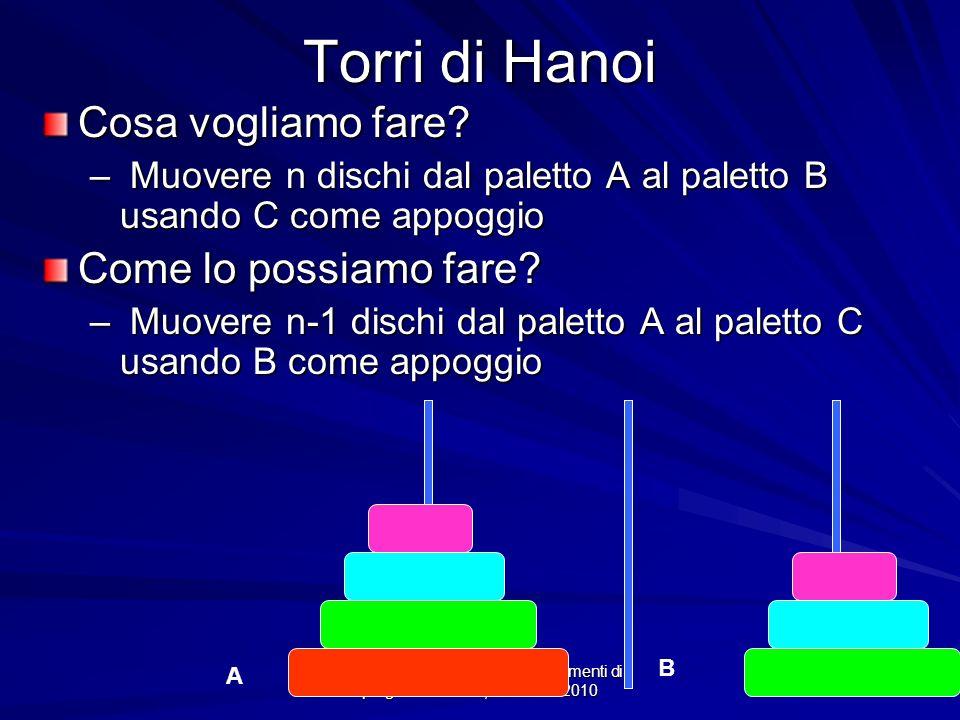 Prof.ssa Chiara Petrioli -- Fondamenti di programmazione, a.a. 2009/2010 Torri di Hanoi Cosa vogliamo fare? – Muovere n dischi dal paletto A al palett
