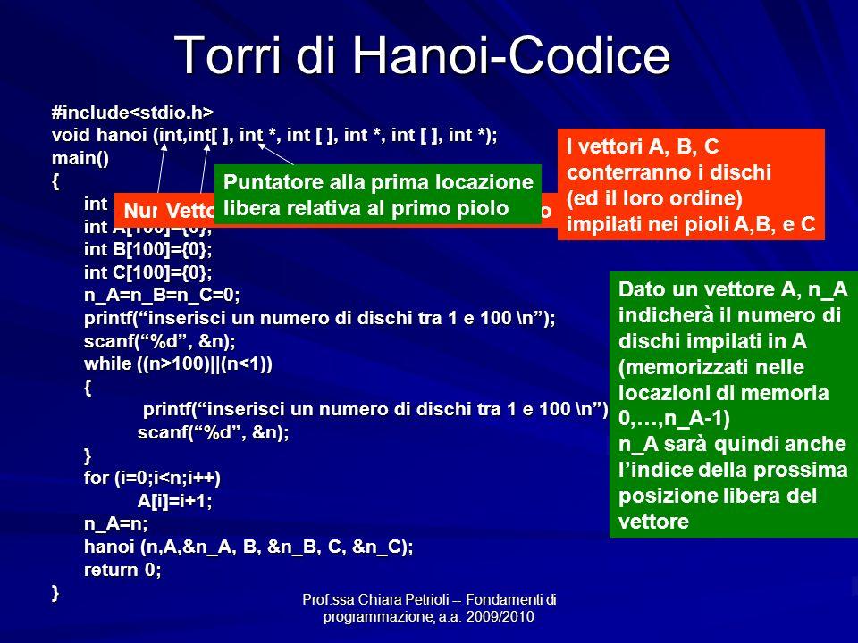 Prof.ssa Chiara Petrioli -- Fondamenti di programmazione, a.a. 2009/2010 Torri di Hanoi-Codice #include<stdio.h> void hanoi (int,int[ ], int *, int [
