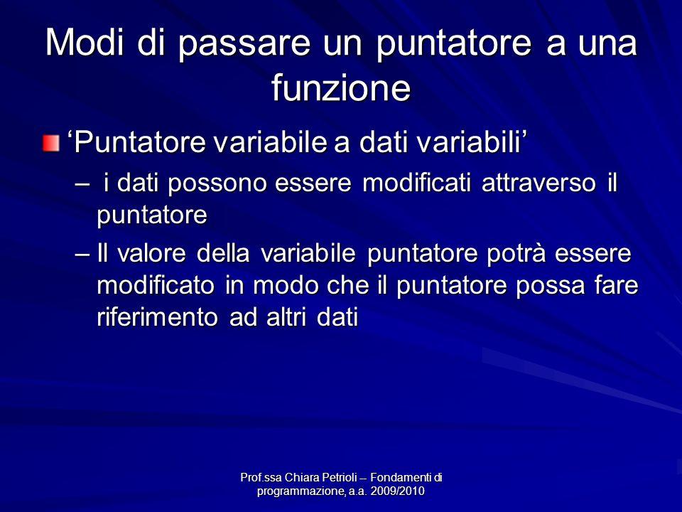 Prof.ssa Chiara Petrioli -- Fondamenti di programmazione, a.a. 2009/2010 Modi di passare un puntatore a una funzione Puntatore variabile a dati variab