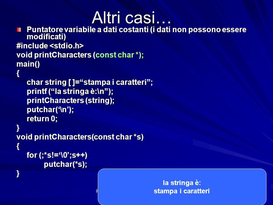 Prof.ssa Chiara Petrioli -- Fondamenti di programmazione, a.a. 2009/2010 Altri casi… Puntatore variabile a dati costanti (i dati non possono essere mo