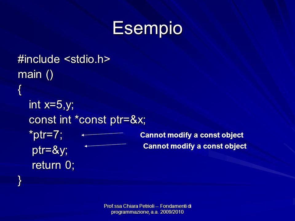 Prof.ssa Chiara Petrioli -- Fondamenti di programmazione, a.a. 2009/2010 Esempio #include #include main () { int x=5,y; const int *const ptr=&x; *ptr=