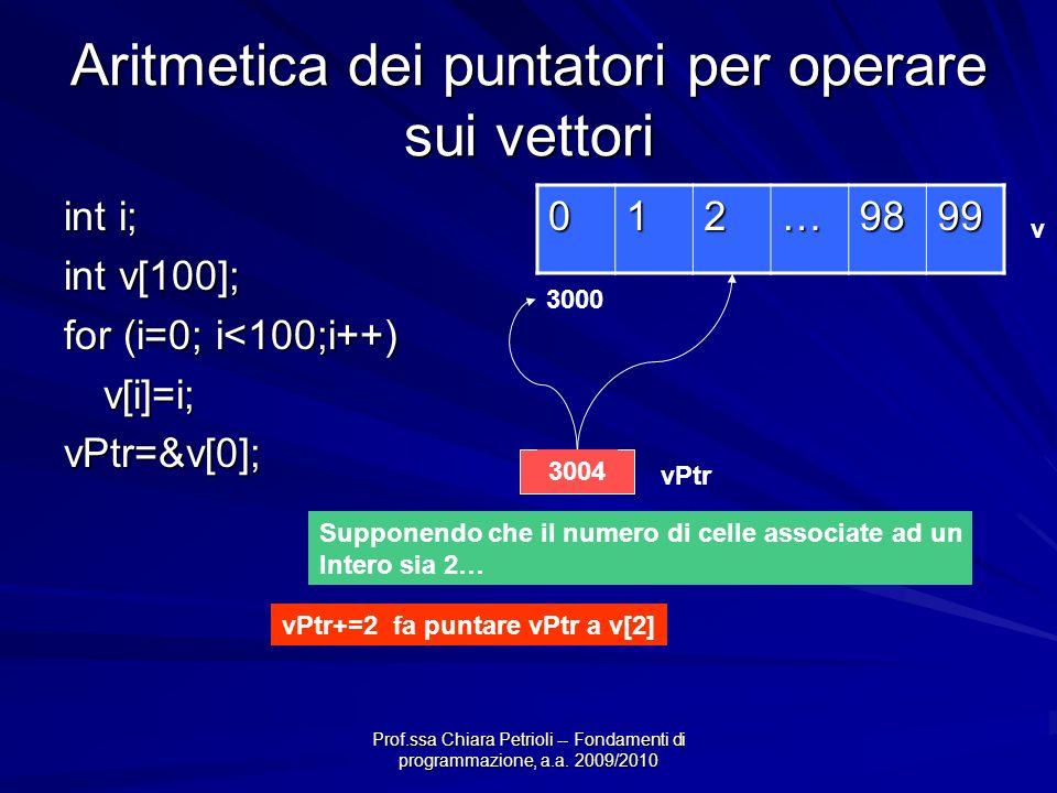Prof.ssa Chiara Petrioli -- Fondamenti di programmazione, a.a. 2009/2010 Aritmetica dei puntatori per operare sui vettori int i; int v[100]; for (i=0;