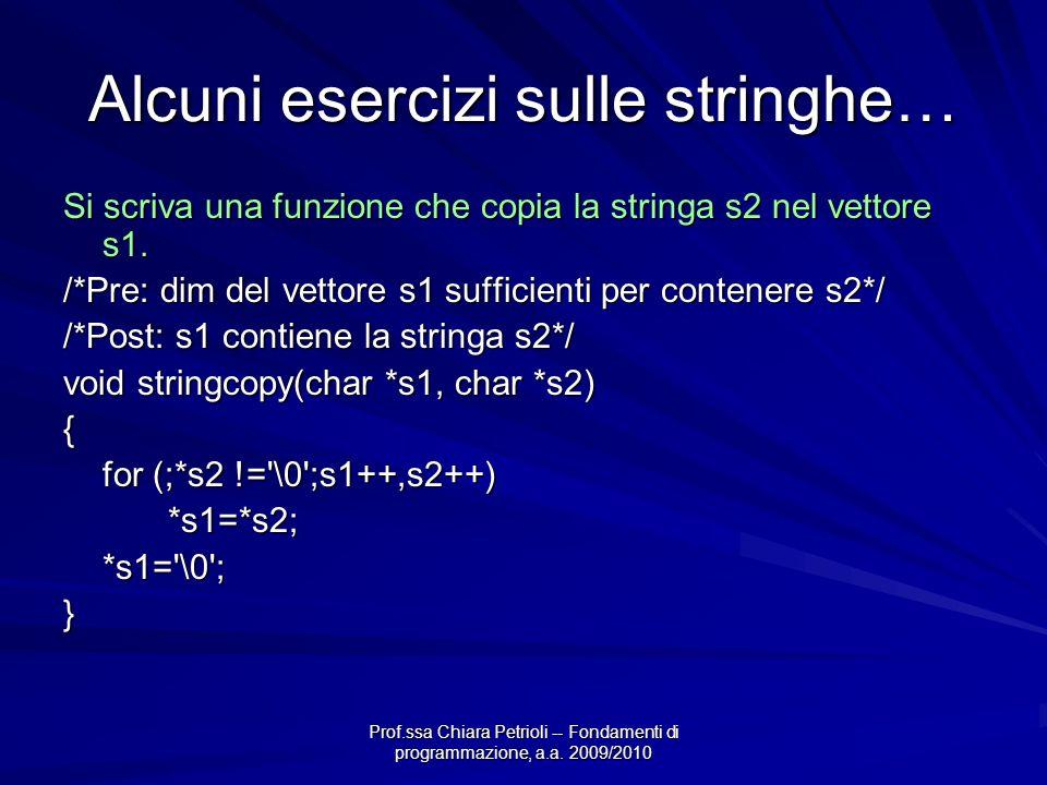 Prof.ssa Chiara Petrioli -- Fondamenti di programmazione, a.a. 2009/2010 Alcuni esercizi sulle stringhe… Si scriva una funzione che copia la stringa s