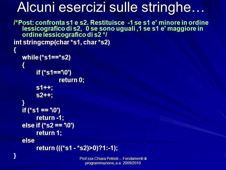 Prof.ssa Chiara Petrioli -- Fondamenti di programmazione, a.a. 2009/2010 Alcuni esercizi sulle stringhe… /*Post: confronta s1 e s2. Restituisce -1 se