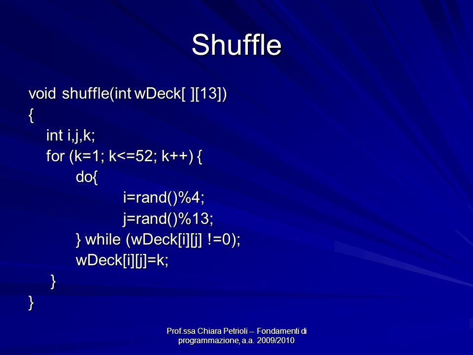 Prof.ssa Chiara Petrioli -- Fondamenti di programmazione, a.a. 2009/2010 Shuffle void shuffle(int wDeck[ ][13]) { int i,j,k; for (k=1; k<=52; k++) { d
