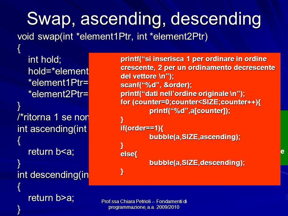 Prof.ssa Chiara Petrioli -- Fondamenti di programmazione, a.a. 2009/2010 Swap, ascending, descending void swap(int *element1Ptr, int *element2Ptr) { i