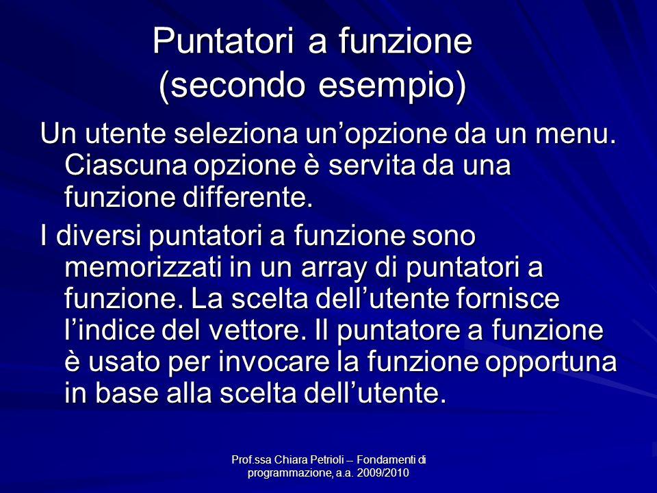 Prof.ssa Chiara Petrioli -- Fondamenti di programmazione, a.a. 2009/2010 Puntatori a funzione (secondo esempio) Un utente seleziona unopzione da un me